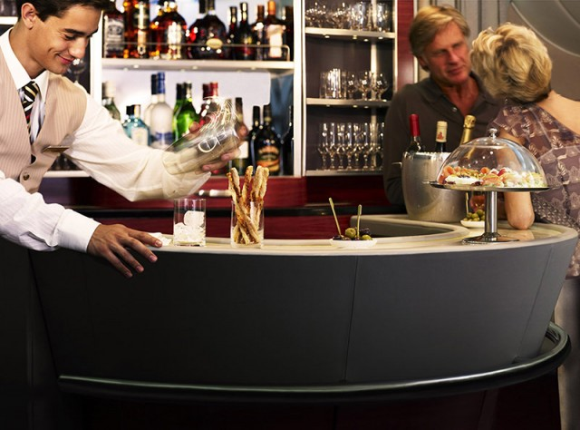 Shaking it up at the Emirates business class bar--courtesy of Emirates