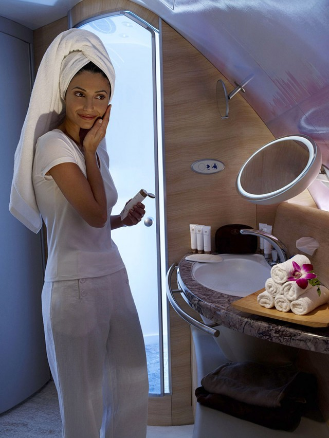 First class includes spa rooms with showers-Photo courtesy of Emirates