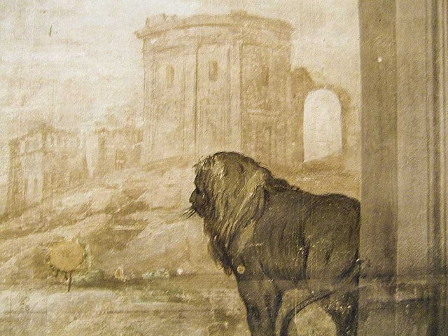 A lion surveys the scene in a mural at the Palazzo|